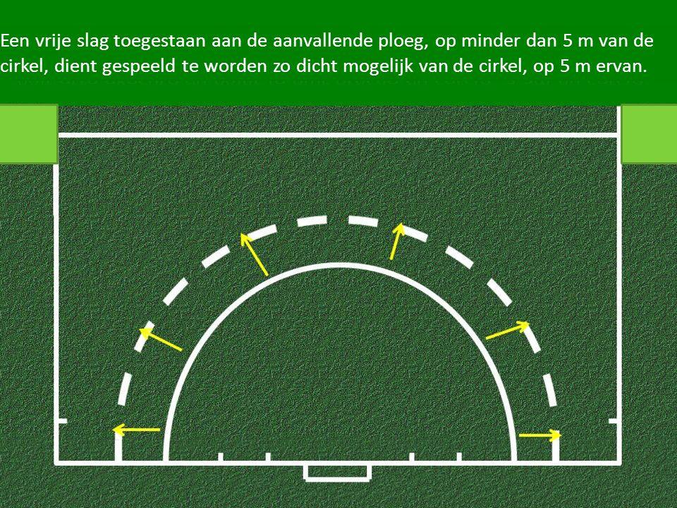 Een vrije slag toegestaan aan de aanvallende ploeg, op minder dan 5 m van de cirkel, dient gespeeld te worden zo dicht mogelijk van de cirkel, op 5 m