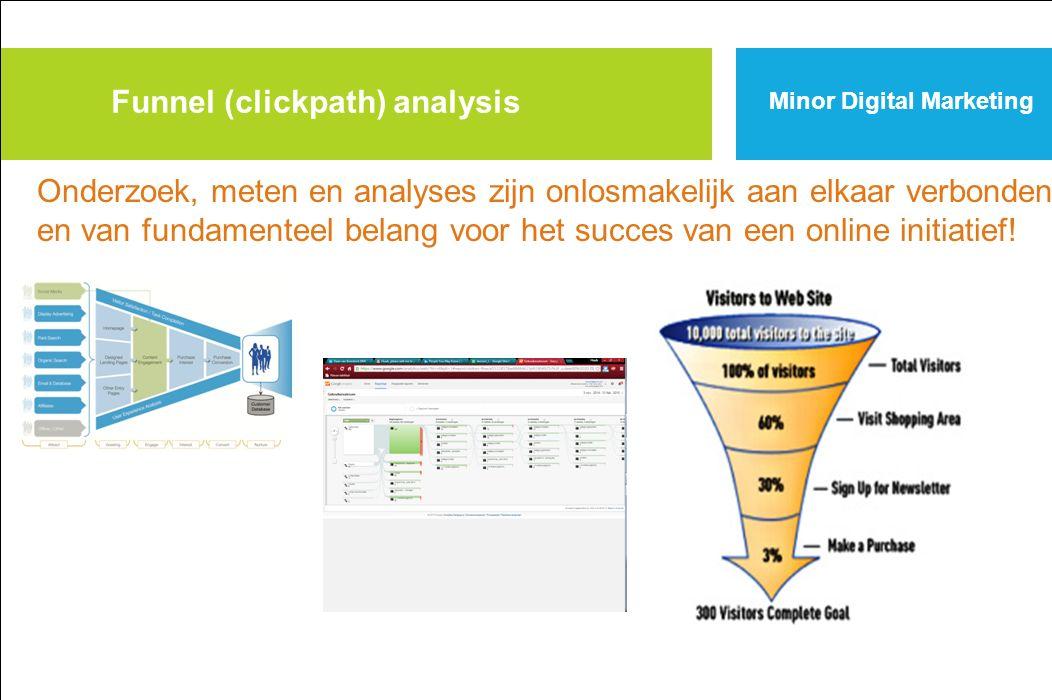 Funnel (clickpath) analysis Onderzoek, meten en analyses zijn onlosmakelijk aan elkaar verbonden en van fundamenteel belang voor het succes van een online initiatief!