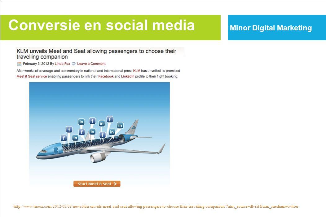 Conversie en social media Minor Digital Marketing http://www.tnooz.com/2012/02/03/news/klm-unveils-meet-and-seat-allowing-passengers-to-choose-their-travelling-companion/?utm_source=dlvr.it&utm_medium=twitter