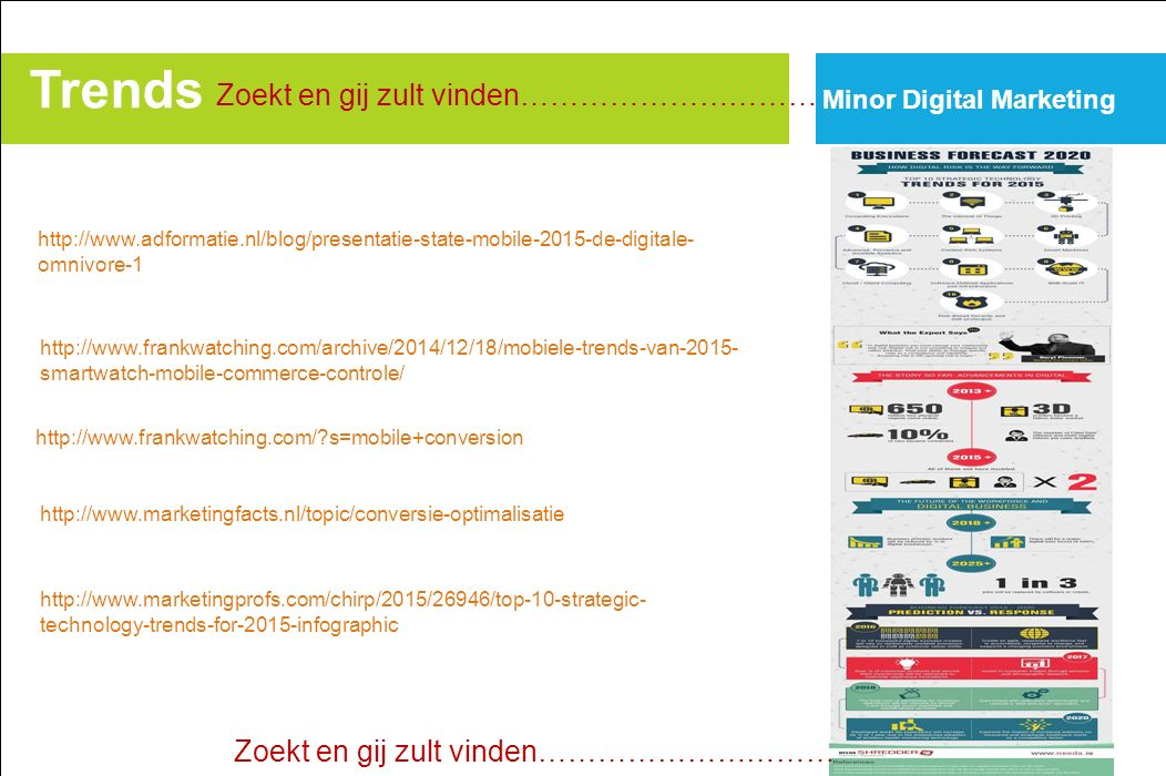 Trends Minor Digital Marketing http://www.frankwatching.com/archive/2014/12/18/mobiele-trends-van-2015- smartwatch-mobile-commerce-controle/ http://www.frankwatching.com/ s=mobile+conversion http://www.adformatie.nl/blog/presentatie-state-mobile-2015-de-digitale- omnivore-1 http://www.marketingfacts.nl/topic/conversie-optimalisatie Zoekt en gij zult vinden………………………… http://www.marketingprofs.com/chirp/2015/26946/top-10-strategic- technology-trends-for-2015-infographic Zoekt en gij zult vinden…………………………