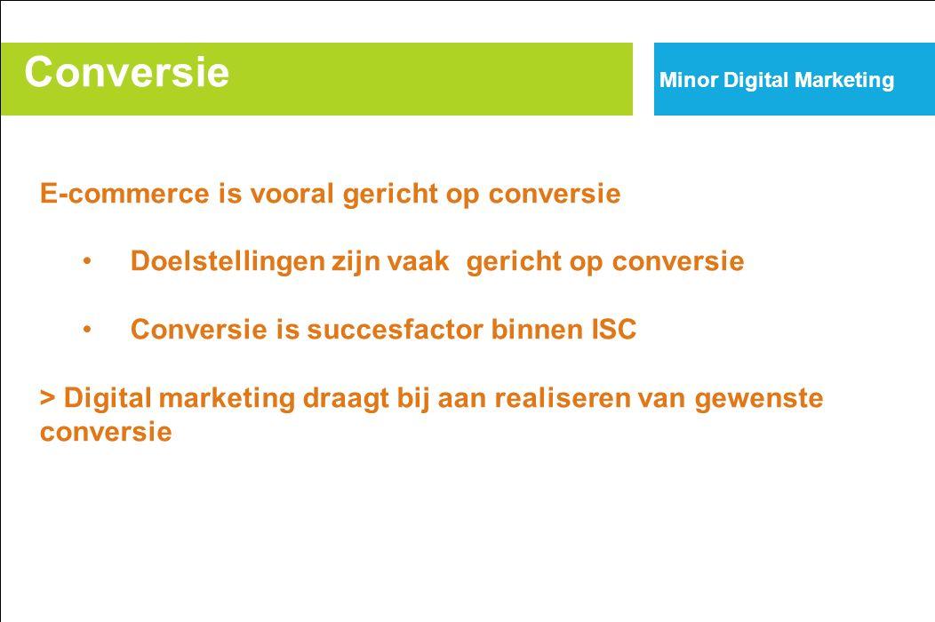 Conversie Minor Digital Marketing E-commerce is vooral gericht op conversie Doelstellingen zijn vaak gericht op conversie Conversie is succesfactor binnen ISC > Digital marketing draagt bij aan realiseren van gewenste conversie