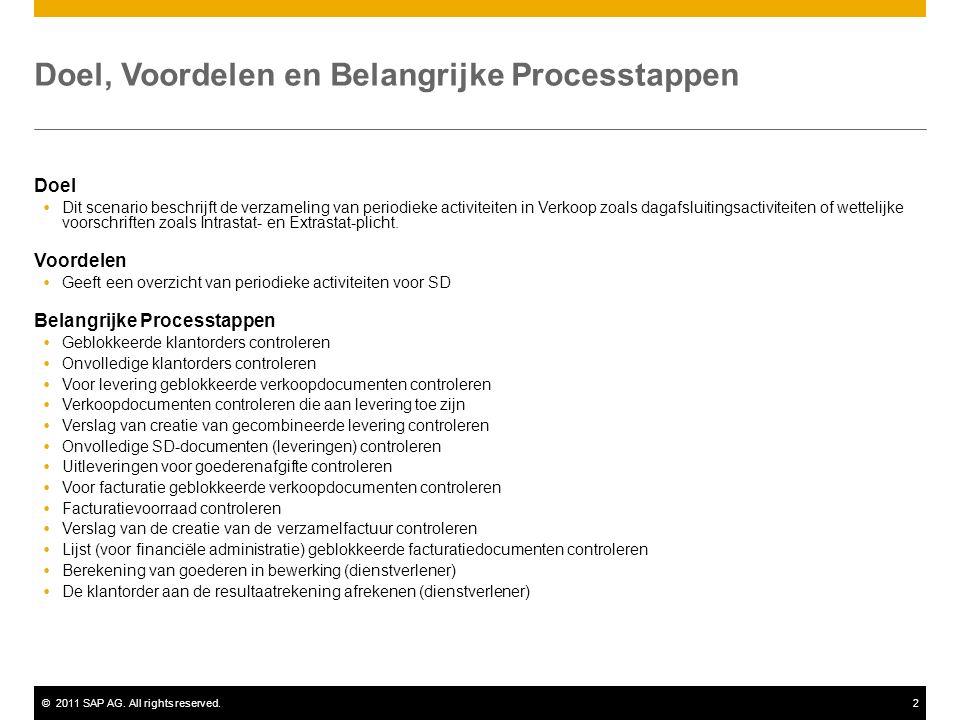 ©2011 SAP AG. All rights reserved.2 Doel, Voordelen en Belangrijke Processtappen Doel  Dit scenario beschrijft de verzameling van periodieke activite