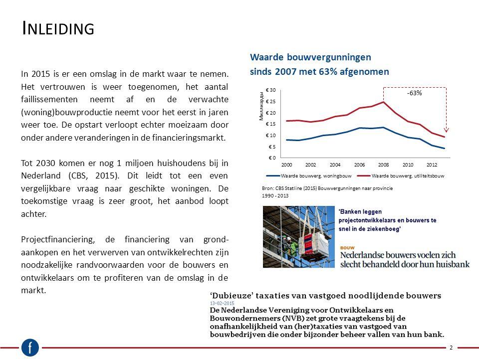 I NLEIDING Waarde bouwvergunningen sinds 2007 met 63% afgenomen 2 In 2015 is er een omslag in de markt waar te nemen. Het vertrouwen is weer toegenome