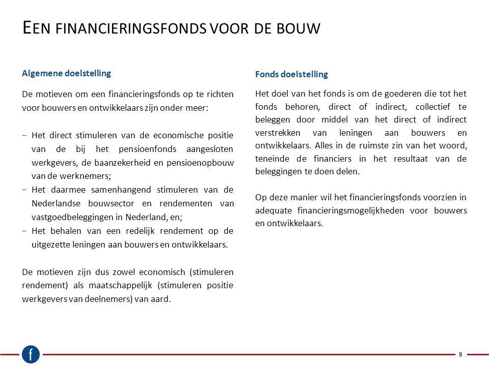 E EN FINANCIERINGSFONDS VOOR DE BOUW Algemene doelstelling 8 De motieven om een financieringsfonds op te richten voor bouwers en ontwikkelaars zijn on