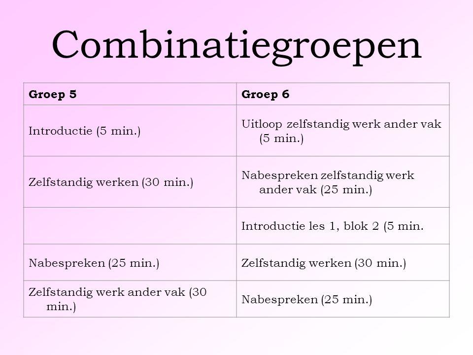 Combinatiegroepen Groep 5Groep 6 Introductie (5 min.) Uitloop zelfstandig werk ander vak (5 min.) Zelfstandig werken (30 min.) Nabespreken zelfstandig werk ander vak (25 min.) Introductie les 1, blok 2 (5 min.