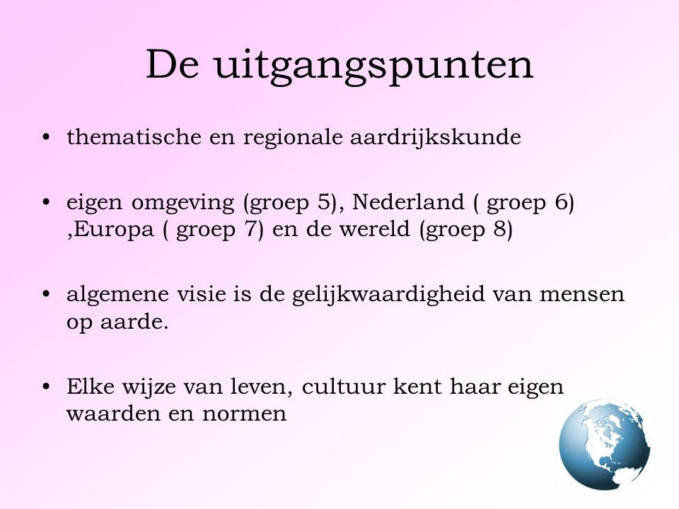 De uitgangspunten thematische en regionale aardrijkskunde eigen omgeving (groep 5), Nederland ( groep 6),Europa ( groep 7) en de wereld (groep 8) algemene visie is de gelijkwaardigheid van mensen op aarde.