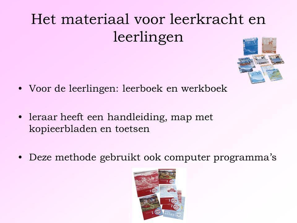 Het materiaal voor leerkracht en leerlingen Voor de leerlingen: leerboek en werkboek leraar heeft een handleiding, map met kopieerbladen en toetsen Deze methode gebruikt ook computer programma's