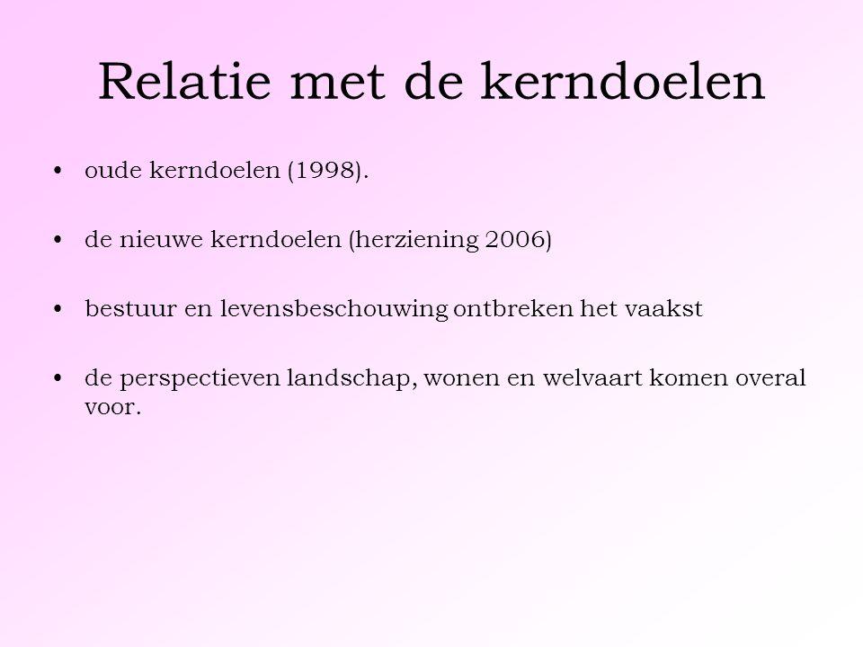 Relatie met de kerndoelen oude kerndoelen (1998). de nieuwe kerndoelen (herziening 2006) bestuur en levensbeschouwing ontbreken het vaakst de perspect