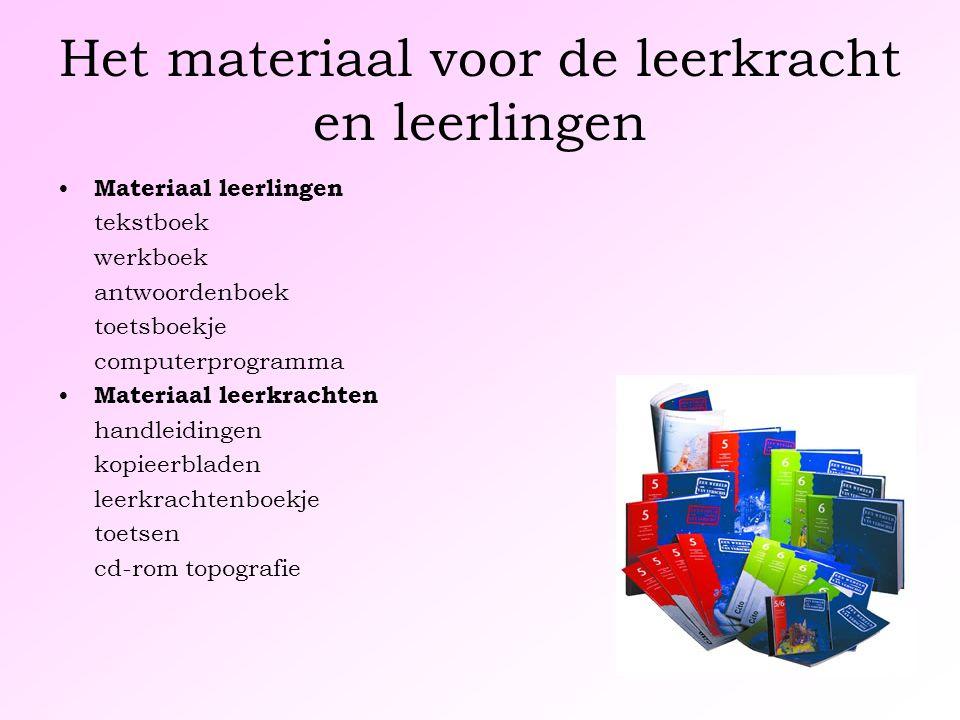 Het materiaal voor de leerkracht en leerlingen Materiaal leerlingen tekstboek werkboek antwoordenboek toetsboekje computerprogramma Materiaal leerkrac