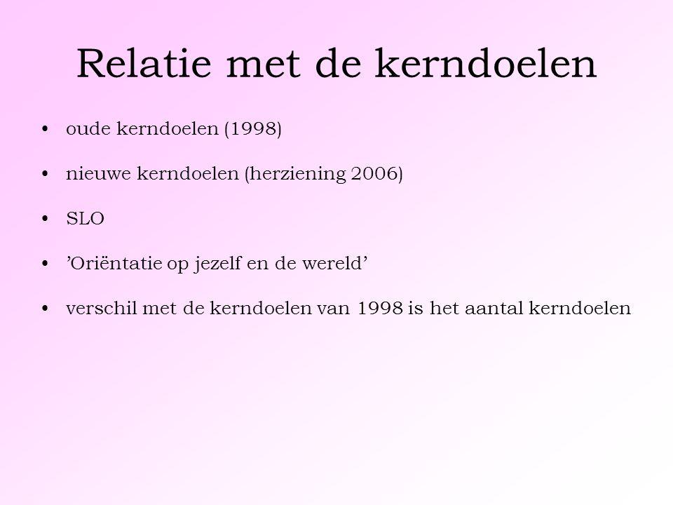 Relatie met de kerndoelen oude kerndoelen (1998) nieuwe kerndoelen (herziening 2006) SLO 'Oriëntatie op jezelf en de wereld' verschil met de kerndoelen van 1998 is het aantal kerndoelen