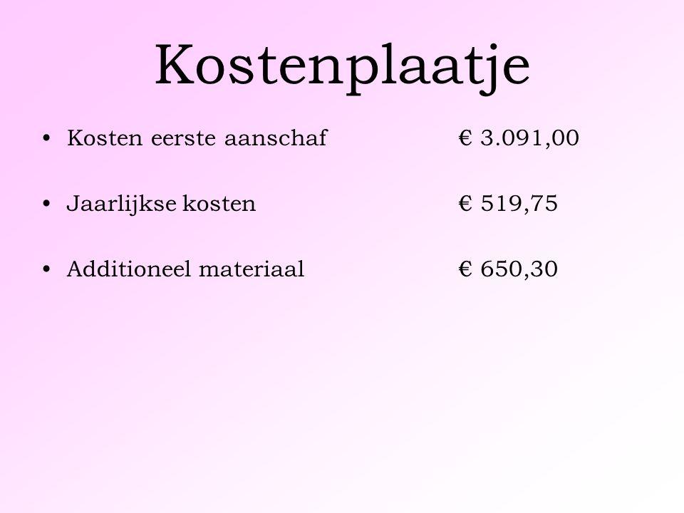 Kostenplaatje Kosten eerste aanschaf € 3.091,00 Jaarlijkse kosten € 519,75 Additioneel materiaal € 650,30