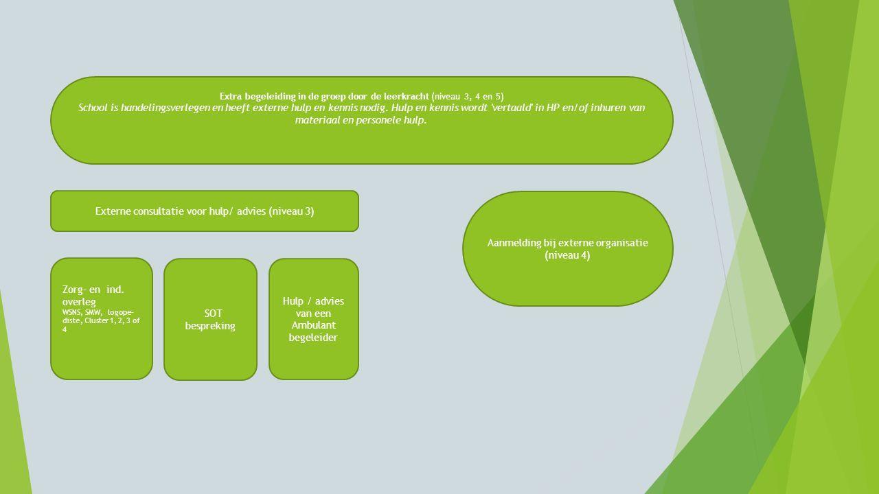 Extra begeleiding in de groep door de leerkracht (niveau 3, 4 en 5) School is handelingsverlegen en heeft externe hulp en kennis nodig. Hulp en kennis