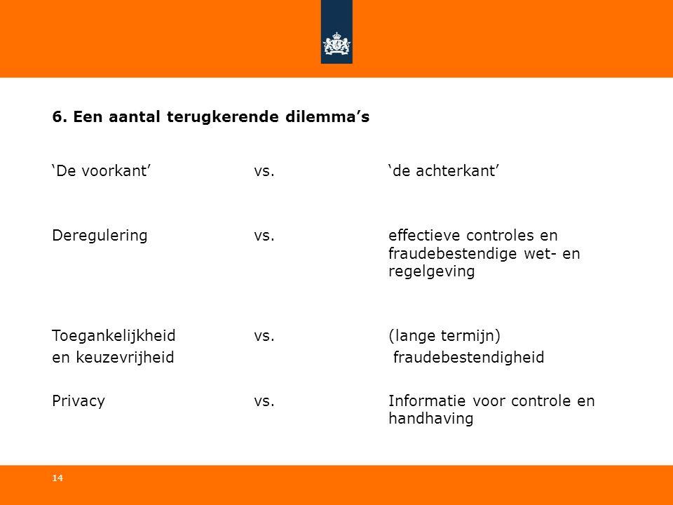 6. Een aantal terugkerende dilemma's 'De voorkant' vs. 'de achterkant' Deregulering vs. effectieve controles en fraudebestendige wet- en regelgeving T