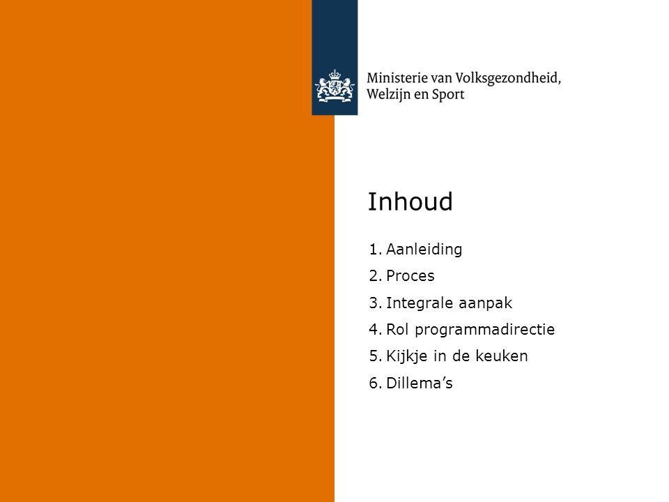 Inhoud 1.Aanleiding 2.Proces 3.Integrale aanpak 4.Rol programmadirectie 5.Kijkje in de keuken 6.Dillema's