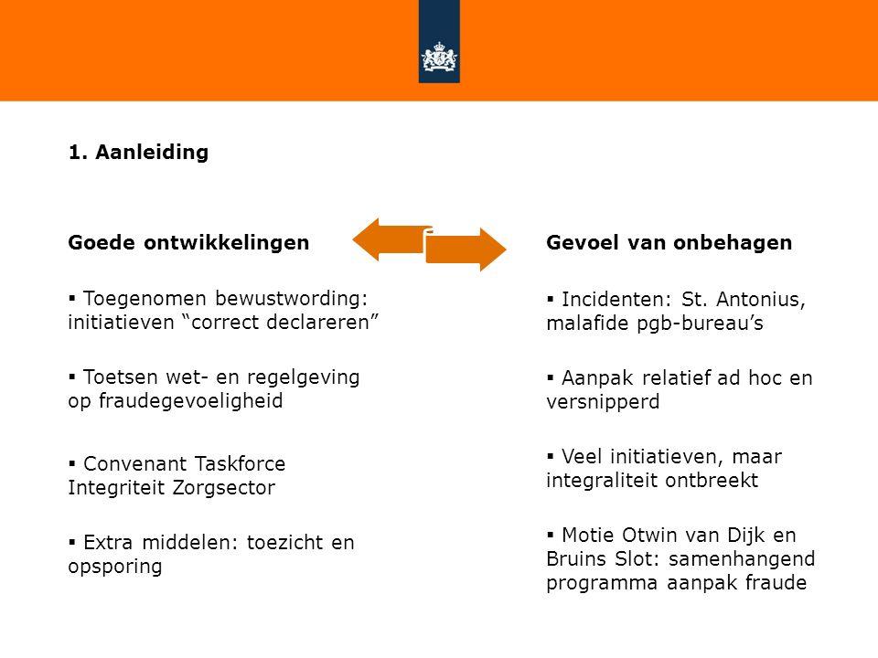 """1. Aanleiding Goede ontwikkelingen  Toegenomen bewustwording: initiatieven """"correct declareren""""  Toetsen wet- en regelgeving op fraudegevoeligheid """