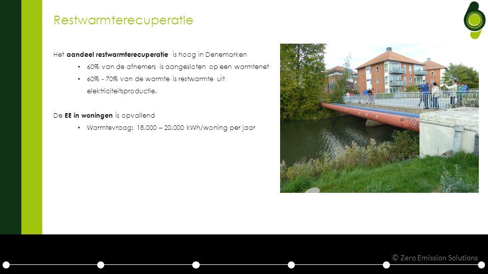 Restwarmterecuperatie Het aandeel restwarmterecuperatie is hoog in Denemarken 60% van de afnemers is aangesloten op een warmtenet 60% - 70% van de warmte is restwarmte uit elektriciteitsproductie.