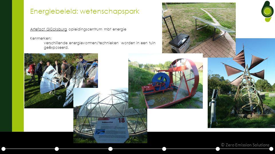 Energiebeleid: wetenschapspark Artefact Glücksburg opleidingscentrum mbt energie Kenmerken: verschillende energievormen/technieken worden in een tuin geëxposeerd.