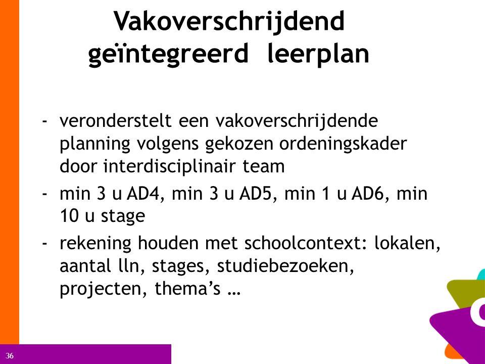36 Vakoverschrijdend geïntegreerd leerplan - veronderstelt een vakoverschrijdende planning volgens gekozen ordeningskader door interdisciplinair team