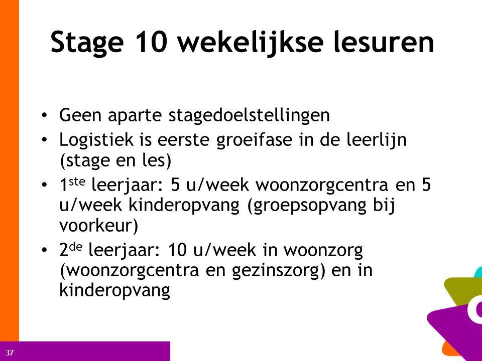 37 Stage 10 wekelijkse lesuren Geen aparte stagedoelstellingen Logistiek is eerste groeifase in de leerlijn (stage en les) 1 ste leerjaar: 5 u/week woonzorgcentra en 5 u/week kinderopvang (groepsopvang bij voorkeur) 2 de leerjaar: 10 u/week in woonzorg (woonzorgcentra en gezinszorg) en in kinderopvang