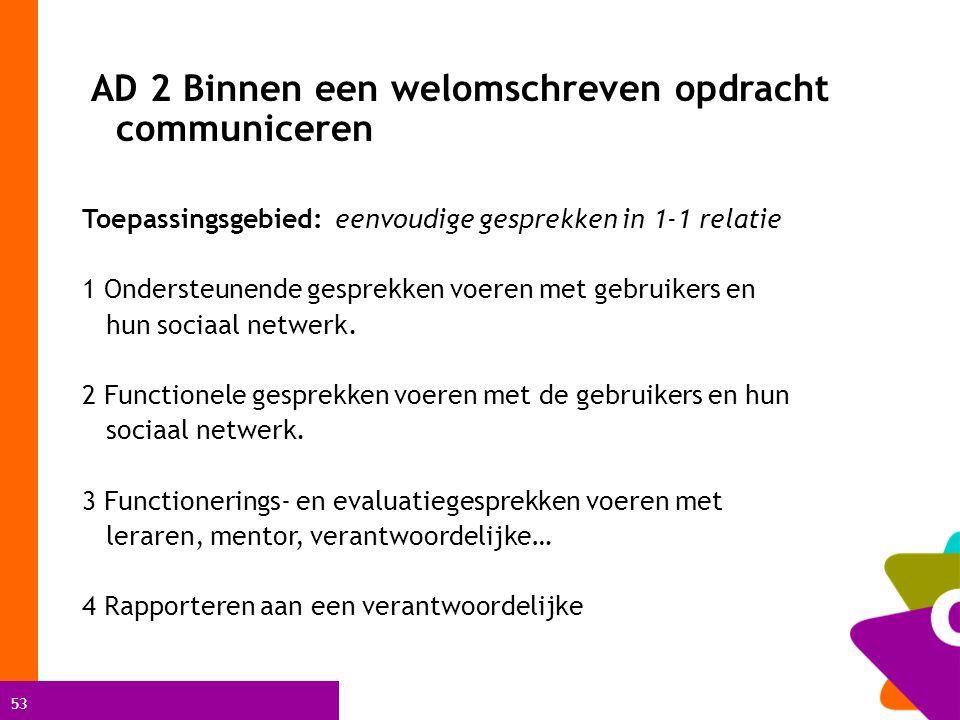 53 AD 2 Binnen een welomschreven opdracht communiceren Toepassingsgebied: eenvoudige gesprekken in 1-1 relatie 1 Ondersteunende gesprekken voeren met gebruikers en hun sociaal netwerk.