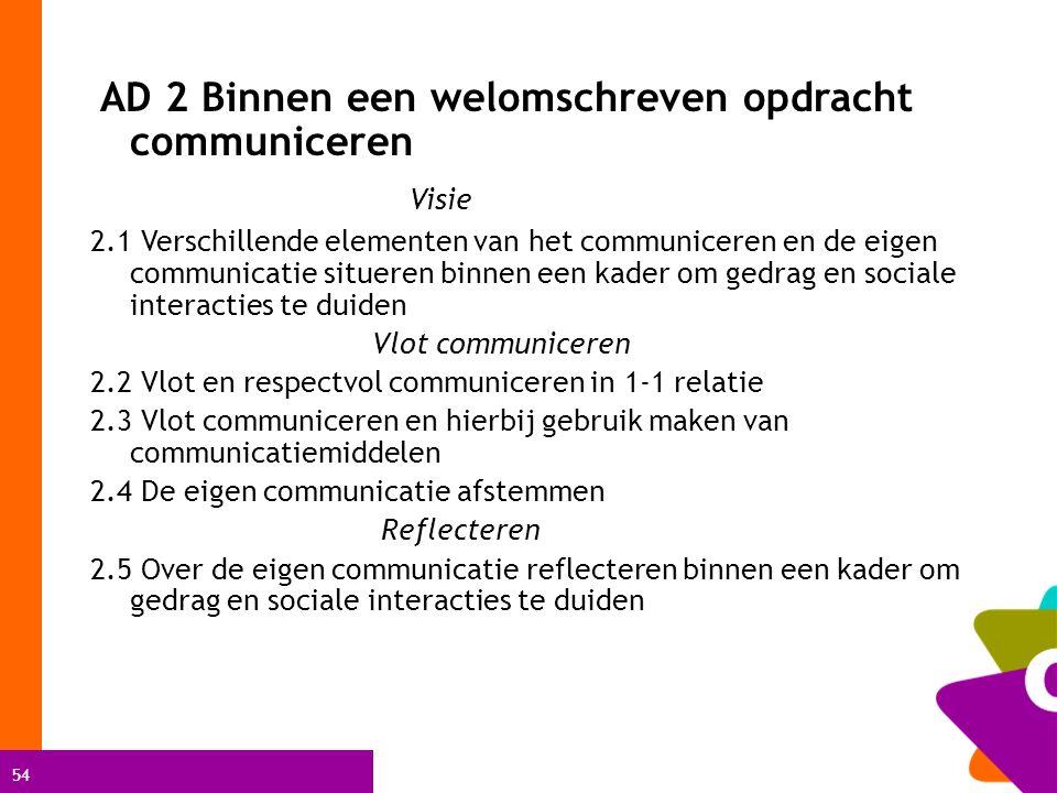 54 AD 2 Binnen een welomschreven opdracht communiceren Visie 2.1 Verschillende elementen van het communiceren en de eigen communicatie situeren binnen een kader om gedrag en sociale interacties te duiden Vlot communiceren 2.2 Vlot en respectvol communiceren in 1-1 relatie 2.3 Vlot communiceren en hierbij gebruik maken van communicatiemiddelen 2.4 De eigen communicatie afstemmen Reflecteren 2.5 Over de eigen communicatie reflecteren binnen een kader om gedrag en sociale interacties te duiden