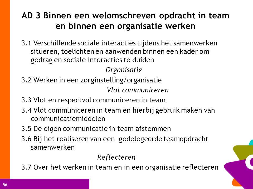 56 AD 3 Binnen een welomschreven opdracht in team en binnen een organisatie werken 3.1 Verschillende sociale interacties tijdens het samenwerken situeren, toelichten en aanwenden binnen een kader om gedrag en sociale interacties te duiden Organisatie 3.2 Werken in een zorginstelling/organisatie Vlot communiceren 3.3 Vlot en respectvol communiceren in team 3.4 Vlot communiceren in team en hierbij gebruik maken van communicatiemiddelen 3.5 De eigen communicatie in team afstemmen 3.6 Bij het realiseren van een gedelegeerde teamopdracht samenwerken Reflecteren 3.7 Over het werken in team en in een organisatie reflecteren