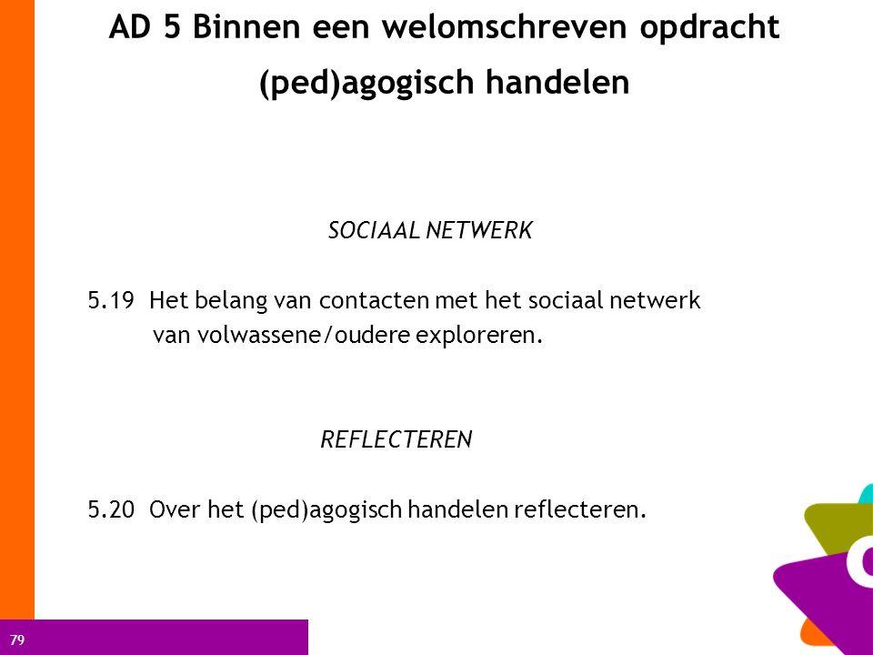 79 AD 5 Binnen een welomschreven opdracht (ped)agogisch handelen SOCIAAL NETWERK 5.19 Het belang van contacten met het sociaal netwerk van volwassene/oudere exploreren.