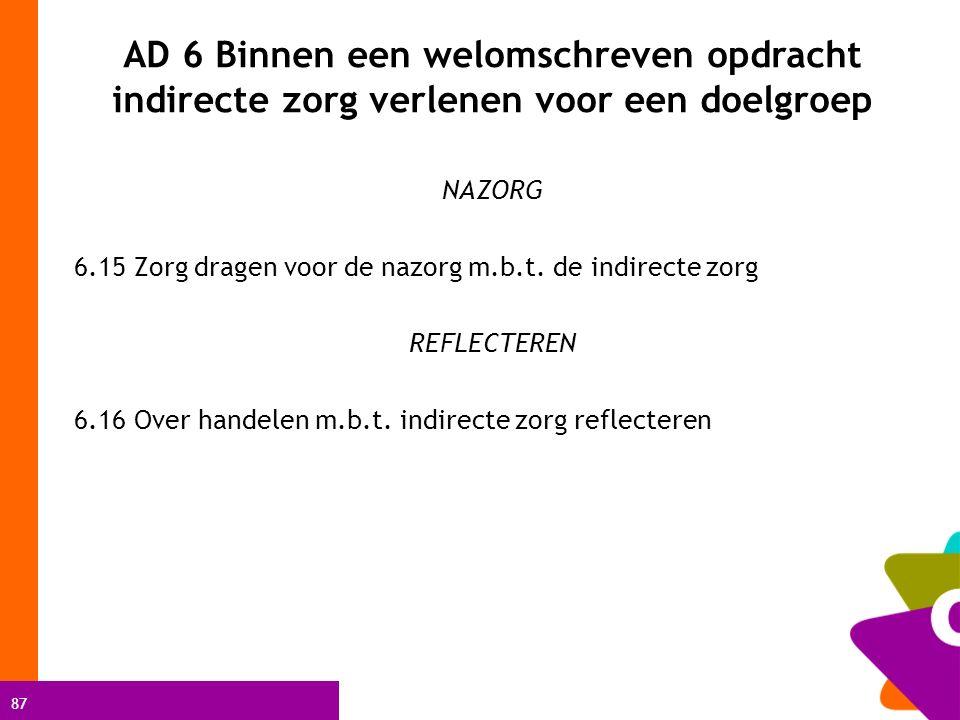 87 AD 6 Binnen een welomschreven opdracht indirecte zorg verlenen voor een doelgroep NAZORG 6.15 Zorg dragen voor de nazorg m.b.t. de indirecte zorg R