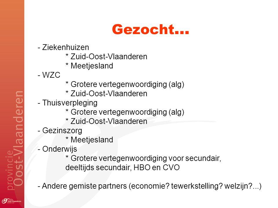 Gezocht … - Ziekenhuizen * Zuid-Oost-Vlaanderen * Meetjesland - WZC * Grotere vertegenwoordiging (alg) * Zuid-Oost-Vlaanderen - Thuisverpleging * Grotere vertegenwoordiging (alg) * Zuid-Oost-Vlaanderen - Gezinszorg * Meetjesland - Onderwijs * Grotere vertegenwoordiging voor secundair, deeltijds secundair, HBO en CVO - Andere gemiste partners (economie.