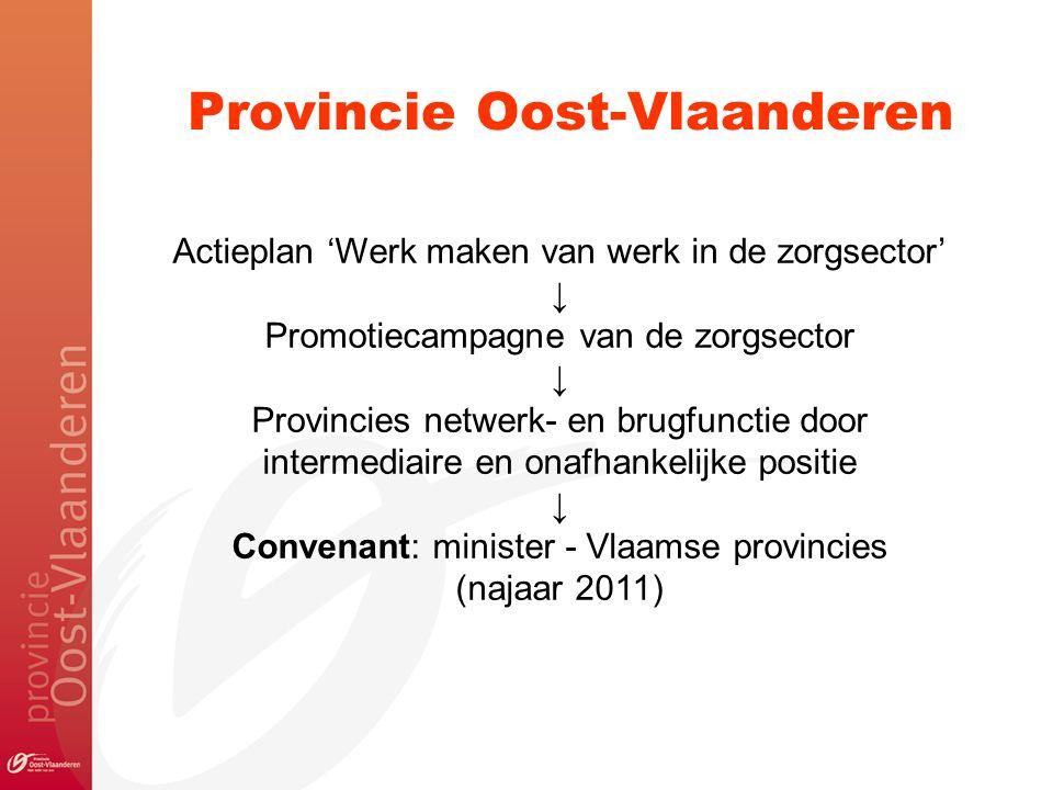 Provincie Oost-Vlaanderen Actieplan 'Werk maken van werk in de zorgsector' ↓ Promotiecampagne van de zorgsector ↓ Provincies netwerk- en brugfunctie door intermediaire en onafhankelijke positie ↓ Convenant: minister - Vlaamse provincies (najaar 2011)