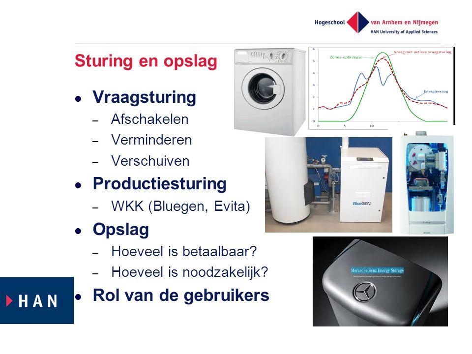 Sturing en opslag Vraagsturing – Afschakelen – Verminderen – Verschuiven Productiesturing – WKK (Bluegen, Evita) Opslag – Hoeveel is betaalbaar.