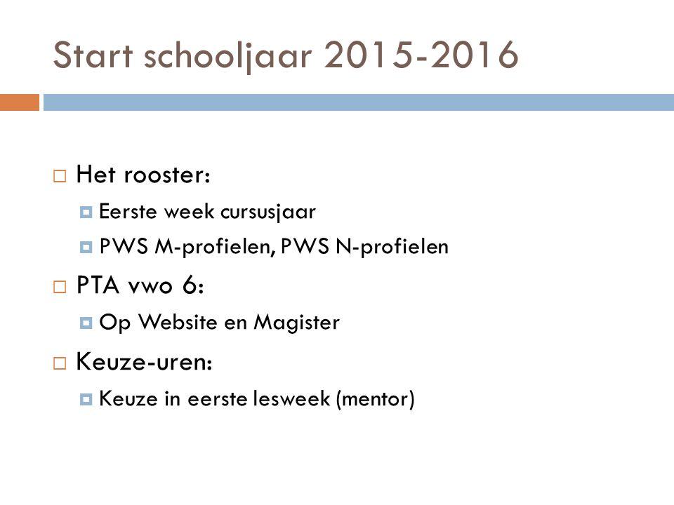 Start schooljaar 2015-2016  Het rooster:  Eerste week cursusjaar  PWS M-profielen, PWS N-profielen  PTA vwo 6:  Op Website en Magister  Keuze-uren:  Keuze in eerste lesweek (mentor)