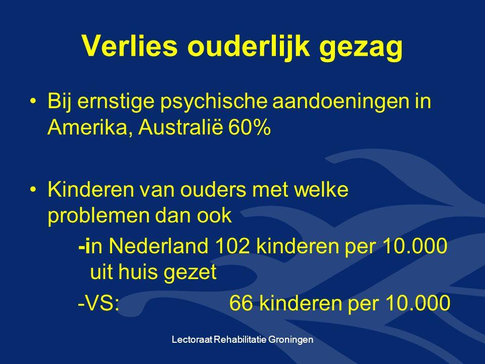 Verlies ouderlijk gezag Bij ernstige psychische aandoeningen in Amerika, Australië 60% Kinderen van ouders met welke problemen dan ook -in Nederland 102 kinderen per 10.000 uit huis gezet -VS: 66 kinderen per 10.000 Lectoraat Rehabilitatie Groningen