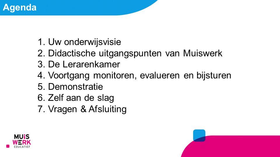 Agenda 1.Uw onderwijsvisie 2.Didactische uitgangspunten van Muiswerk 3.De Lerarenkamer 4.Voortgang monitoren, evalueren en bijsturen 5.Demonstratie 6.Zelf aan de slag 7.Vragen & Afsluiting