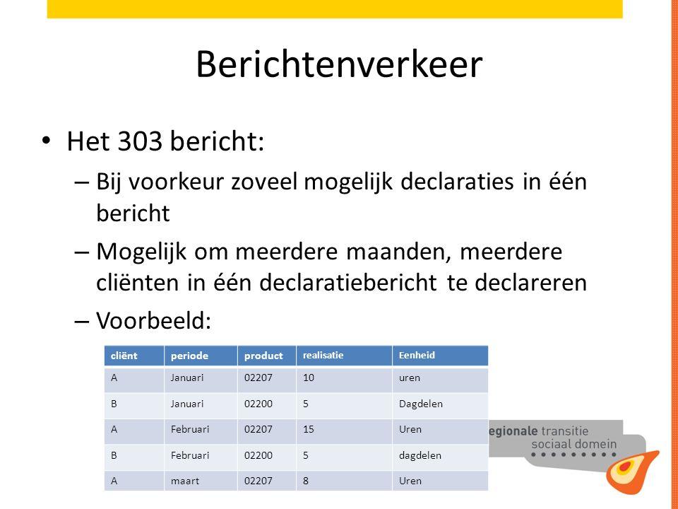 Berichtenverkeer Het 303 bericht: – Bij voorkeur zoveel mogelijk declaraties in één bericht – Mogelijk om meerdere maanden, meerdere cliënten in één d
