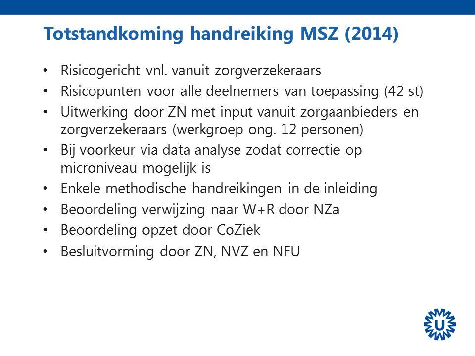 Totstandkoming handreiking MSZ (2014) Risicogericht vnl. vanuit zorgverzekeraars Risicopunten voor alle deelnemers van toepassing (42 st) Uitwerking d