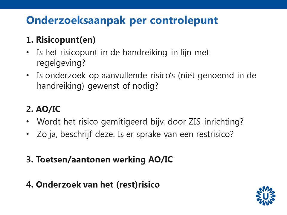 Onderzoeksaanpak per controlepunt 1. Risicopunt(en) Is het risicopunt in de handreiking in lijn met regelgeving? Is onderzoek op aanvullende risico's