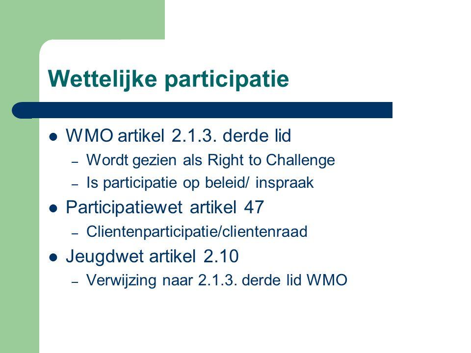 Wettelijke participatie WMO artikel 2.1.3.