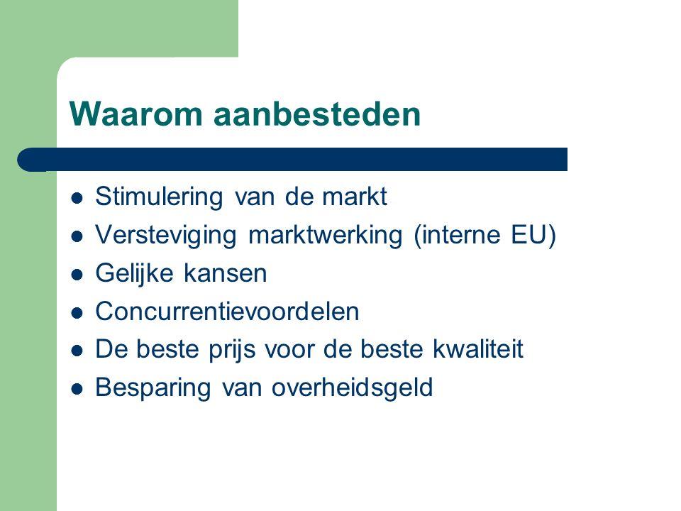 Waarom aanbesteden Stimulering van de markt Versteviging marktwerking (interne EU) Gelijke kansen Concurrentievoordelen De beste prijs voor de beste kwaliteit Besparing van overheidsgeld