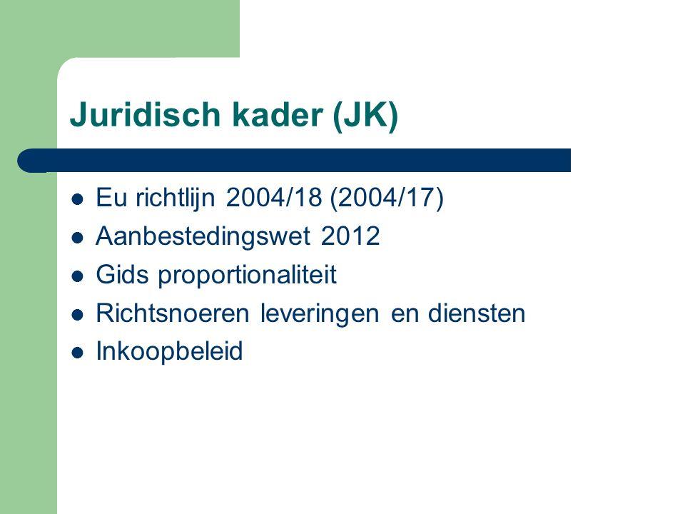 Juridisch kader (JK) Eu richtlijn 2004/18 (2004/17) Aanbestedingswet 2012 Gids proportionaliteit Richtsnoeren leveringen en diensten Inkoopbeleid
