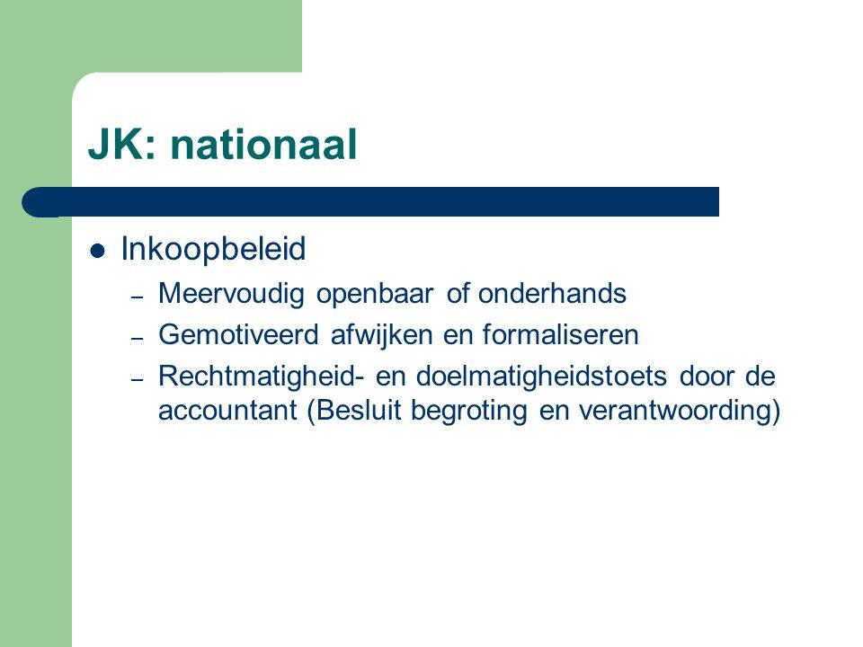 JK: nationaal Inkoopbeleid – Meervoudig openbaar of onderhands – Gemotiveerd afwijken en formaliseren – Rechtmatigheid- en doelmatigheidstoets door de accountant (Besluit begroting en verantwoording)