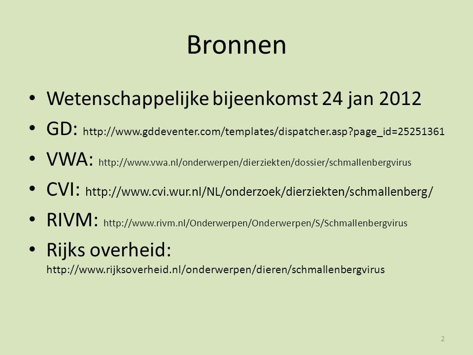 Bronnen Wetenschappelijke bijeenkomst 24 jan 2012 GD: http://www.gddeventer.com/templates/dispatcher.asp?page_id=25251361 VWA: http://www.vwa.nl/onderwerpen/dierziekten/dossier/schmallenbergvirus CVI: http://www.cvi.wur.nl/NL/onderzoek/dierziekten/schmallenberg/ RIVM: http://www.rivm.nl/Onderwerpen/Onderwerpen/S/Schmallenbergvirus Rijks overheid: http://www.rijksoverheid.nl/onderwerpen/dieren/schmallenbergvirus 2