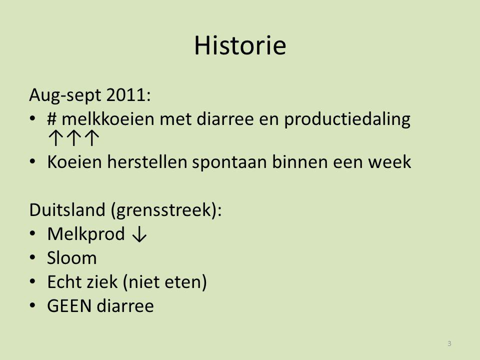 Historie Aug-sept 2011: # melkkoeien met diarree en productiedaling ↑↑↑ Koeien herstellen spontaan binnen een week Duitsland (grensstreek): Melkprod ↓ Sloom Echt ziek (niet eten) GEEN diarree 3