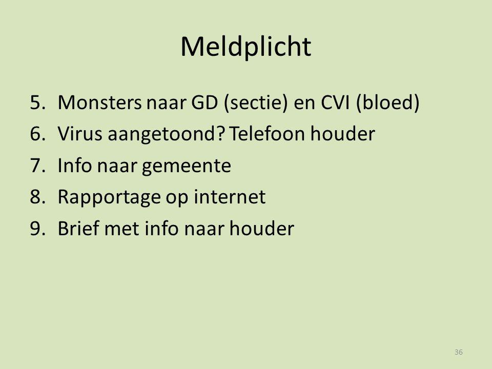 Meldplicht 5.Monsters naar GD (sectie) en CVI (bloed) 6.Virus aangetoond.