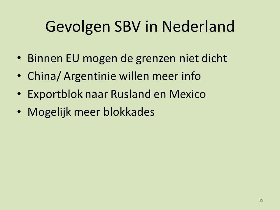 Gevolgen SBV in Nederland Binnen EU mogen de grenzen niet dicht China/ Argentinie willen meer info Exportblok naar Rusland en Mexico Mogelijk meer blokkades 39