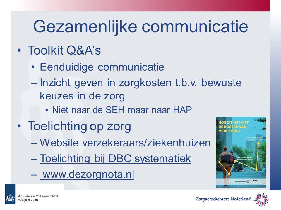 Gezamenlijke communicatie Toolkit Q&A's Eenduidige communicatie –Inzicht geven in zorgkosten t.b.v.