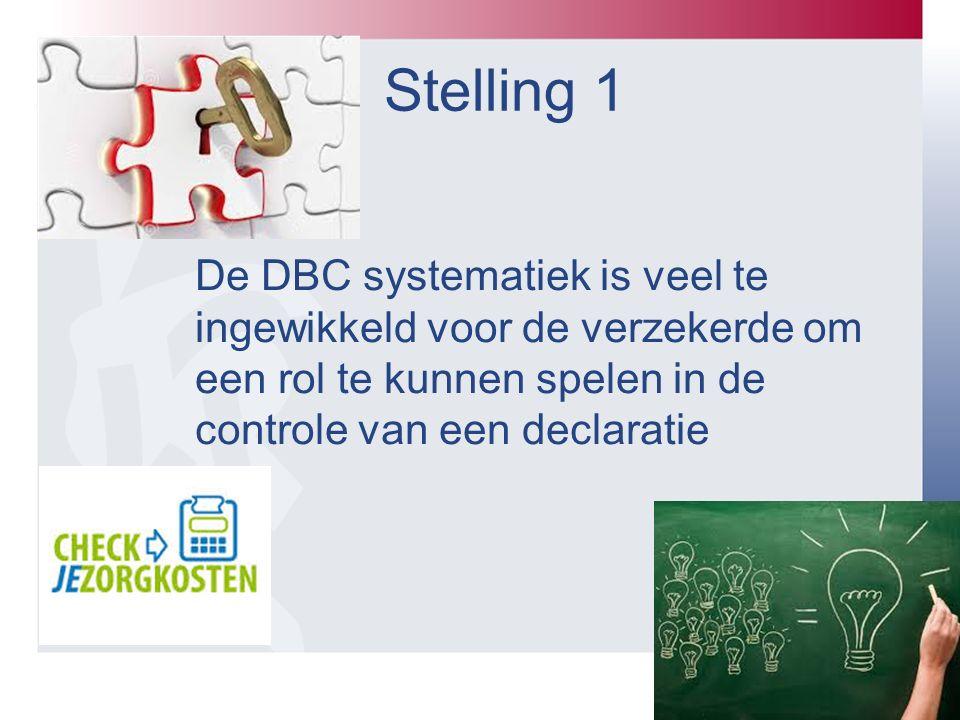 Stelling 1 De DBC systematiek is veel te ingewikkeld voor de verzekerde om een rol te kunnen spelen in de controle van een declaratie