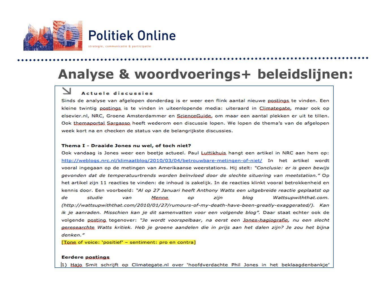 Analyse & woordvoerings+ beleidslijnen: