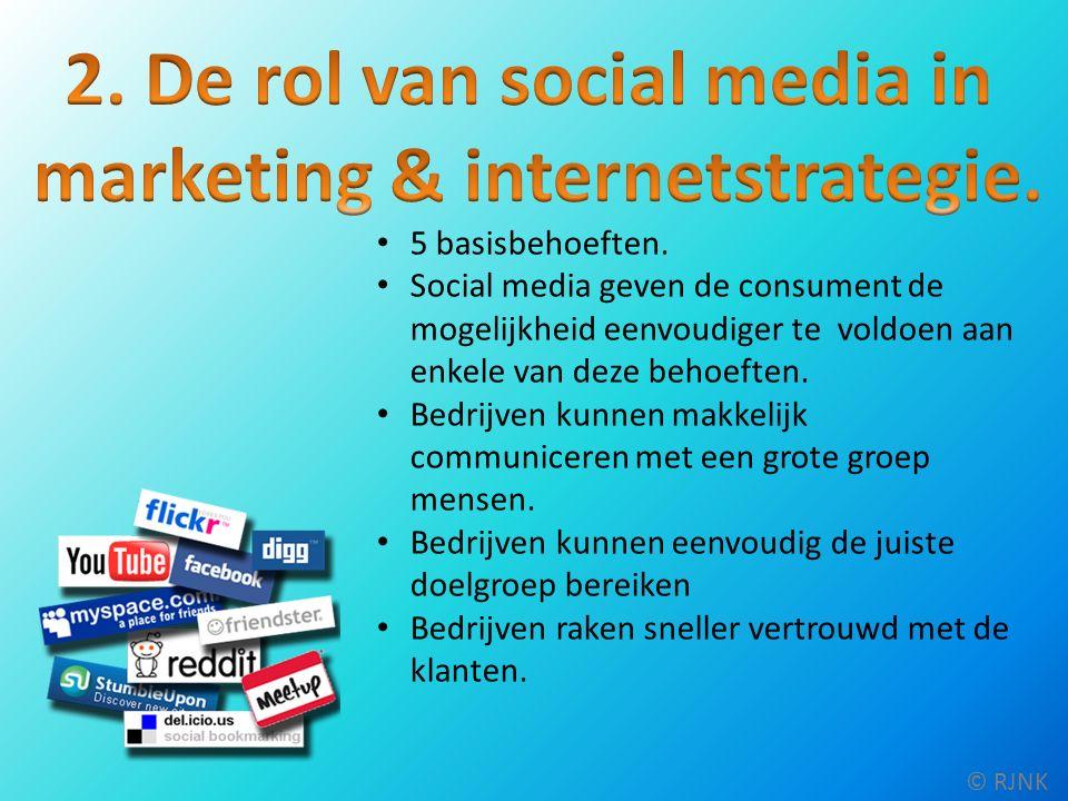 © RJNK 5 basisbehoeften. Social media geven de consument de mogelijkheid eenvoudiger te voldoen aan enkele van deze behoeften. Bedrijven kunnen makkel