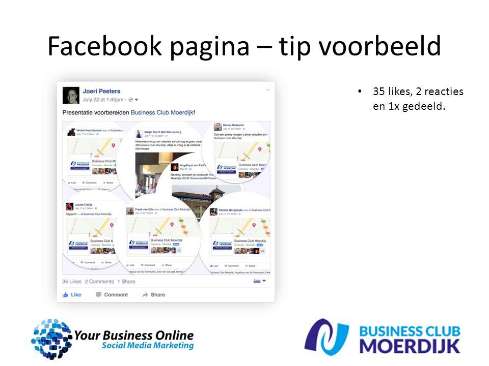 Facebook pagina – tip voorbeeld 35 likes, 2 reacties en 1x gedeeld.
